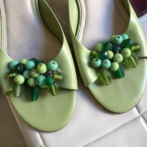 Talbots green sandals with flourish